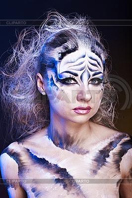Weißer Tiger - schöne Modell-Frau mit Bodypainting | Foto mit hoher Auflösung |ID 3024267