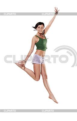 Молодая эмоциональная женщина в прыжке | Фото большого размера |ID 3032433
