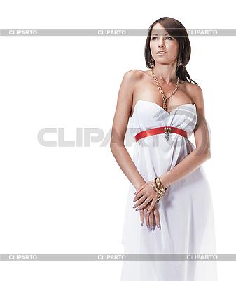 年轻漂亮的女身穿白色长裙古典风格 | 高分辨率照片 |ID 3032451