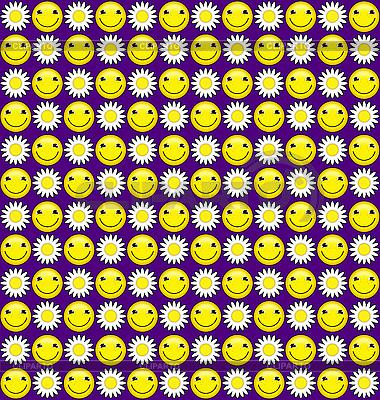Hintergrund mit Lächeln und Gänseblümchen | Illustration mit hoher Auflösung |ID 3024012