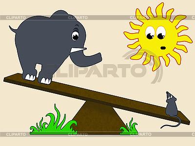 Elefant und Maus auf einer Schaukel   Illustration mit hoher Auflösung  ID 3024131