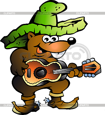 Wallaby-Mexikaner spielt Gitarre | Stock Vektorgrafik |ID 3031663