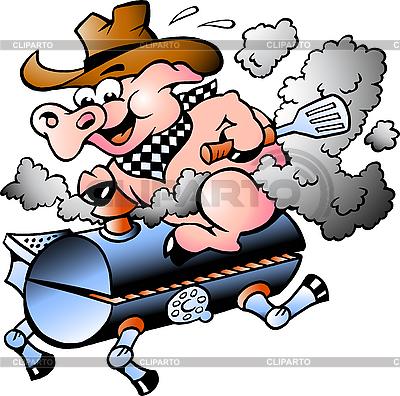 Schwein reitet auf einem Barbeque-Kohlenbecken | Stock Vektorgrafik |ID 3031665