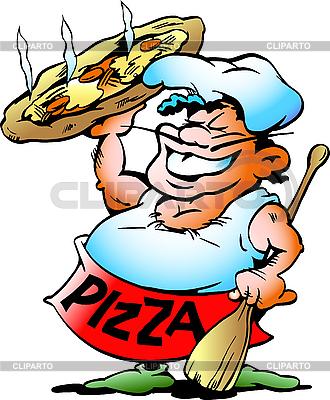 Chefkoch mit einer riesigen Pizza | Stock Vektorgrafik |ID 3031666