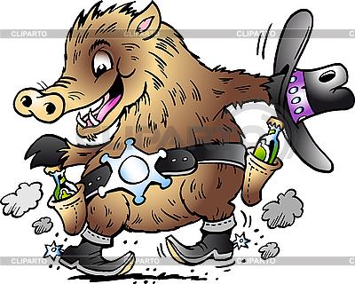 Tanzendes Wildschwein als Sheriff | Stock Vektorgrafik |ID 3031669