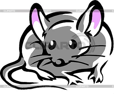 Mysz z wielkimi różowymi uszami | Klipart wektorowy |ID 3031679