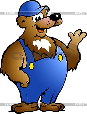 Niedźwiedź w niebieskich kombinezonach | Klipart wektorowy |ID 3031687