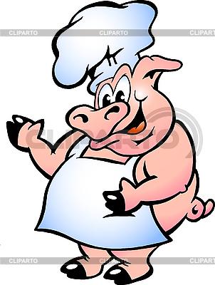 돼지 요리사 앞치마를 입고 | 벡터 클립 아트 |ID 3031719