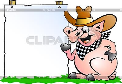 Chef-Schwein vor einem Information-Schild | Stock Vektorgrafik |ID 3031743