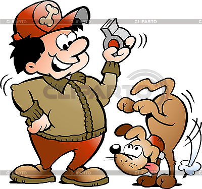 Pies i Trainer | Klipart wektorowy |ID 3031777