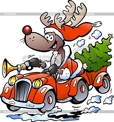 驯鹿驾驶汽车 | 向量插图 |ID 3104614