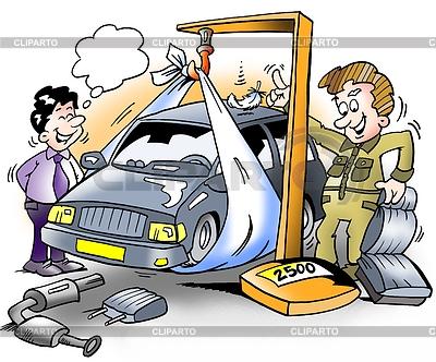 Auto, das sich vor Inspektion gewichtet | Illustration mit hoher Auflösung |ID 3348309