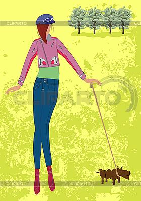 Mädchen mit einem Hund im Park | Stock Vektorgrafik |ID 3069608