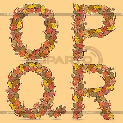 OPQR Buchstaben aus den herbstlichen Blättern | Stock Vektorgrafik |ID 3076945
