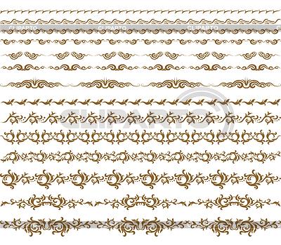 Elementos decorativos horizontales, bordes y marcos