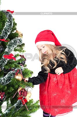 Mädchen und Weihnachtsbaum | Foto mit hoher Auflösung |ID 3039648