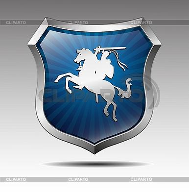 Herb z rycerza na koniu | Klipart wektorowy |ID 3039720