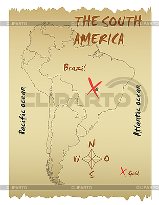 Карта Южной Америки | Векторный клипарт |ID 3072534