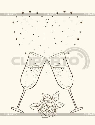 香槟和玫瑰与心 | 向量插图 |ID 3050548