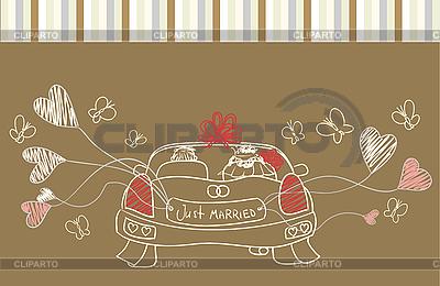 Grußkarte mit Hochzeitsauto | Stock Vektorgrafik |ID 3050873