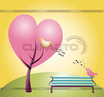 Dwa śpiewające ptaki | Klipart wektorowy |ID 3050947
