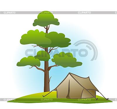 Sosna i namiot | Klipart wektorowy |ID 3051045
