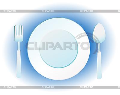 Plato cuchillo y tenedor ilustraci n vectorial de stock for Plato tenedor y cuchillo