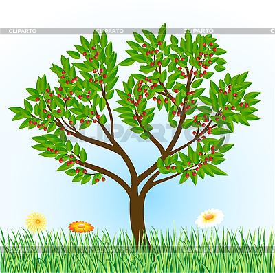 Wiśniowe drzewo z trawy i kwiatów | Klipart wektorowy |ID 3051179