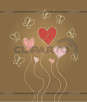 Serca i motyle | Klipart wektorowy |ID 3073131