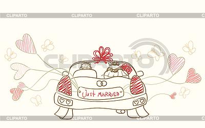 Pozdrowienia z samochodu ślubu | Klipart wektorowy |ID 3073259