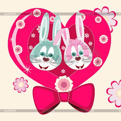 两只兔子和心脏 | 向量插图 |ID 3073284