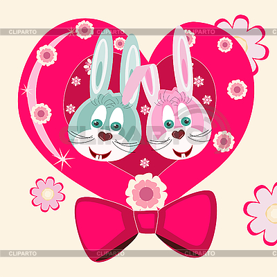 Dwa króliki i serce | Klipart wektorowy |ID 3073284