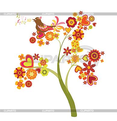 Drzewo miłości z kwiatów i serca | Klipart wektorowy |ID 3074659