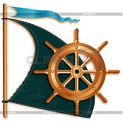 Segel und Schiffsteuerrad | Illustration mit hoher Auflösung |ID 3045668