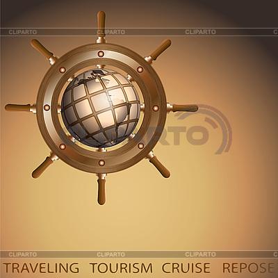 Globus und Schiffsteuerrad | Illustration mit hoher Auflösung |ID 3045847