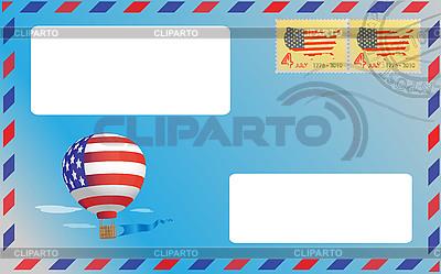Blauer Umschlag mit amerikanischen Briefmarken | Stock Vektorgrafik |ID 3061825