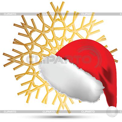Schneeflocke und Weihnachtsmütze | Stock Vektorgrafik |ID 3072446