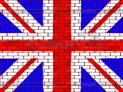 Flaga Wielkiej Brytanii na ceglany mur | Klipart wektorowy |ID 3063049