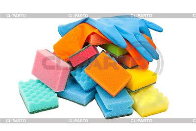 Rękawice gumowe i gąbki kuchenne | Foto stockowe wysokiej rozdzielczości |ID 3044433