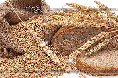 Brot, Beutel mit Weizen und Ähren | Foto mit hoher Auflösung |ID 3044470