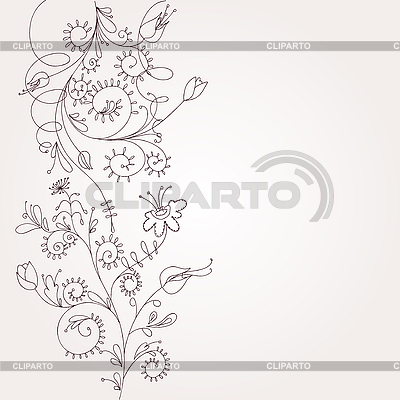 Растительный цветочный орнамент | Векторный клипарт |ID 3051862
