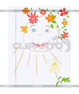 Słońce między kwiaty dziecięcą elekt | Klipart wektorowy |ID 3058106