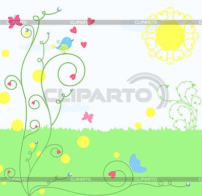 Kwiatu karty z ptakiem | Klipart wektorowy |ID 3069337