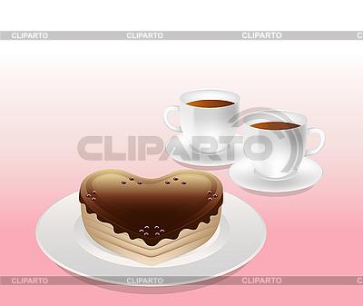 Tort i filiżanki herbaty | Klipart wektorowy |ID 3120088