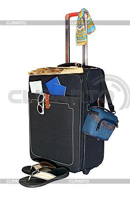 Czarne wyjazdy walizka i akcesoria do podróży | Foto stockowe wysokiej rozdzielczości |ID 3042255