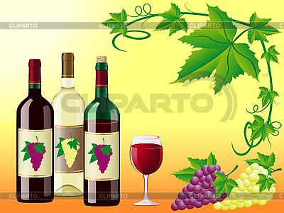 Wino z winogron i liści ozdobnych rogu | Klipart wektorowy |ID 3044205