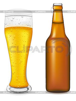 Glas und Flasche mit Bier | Stock Vektorgrafik |ID 3045045