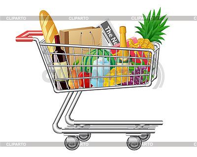 Einkaufswagen mit Käufen und Lebensmittel | Stock Vektorgrafik |ID 3045157