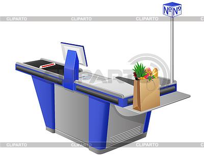 收银终端和购物袋与食品 | 向量插图 |ID 3296711