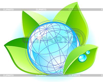 Ökologie-Konzept mit Globus und Blättern | Stock Vektorgrafik |ID 3045266